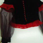 блуза из черного бархата в сочетании кружевом и фатина